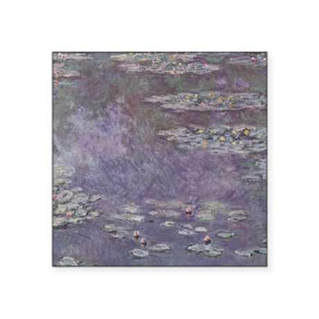 """Water Lilies by Monet Square Sticker 3"""" x 3"""""""