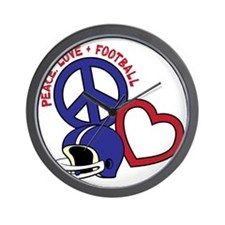 redwhiteblue, Peace, Love, Football hel Wall Clock