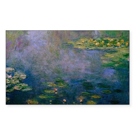 Water Lilies by Monet Sticker (Rectangle)