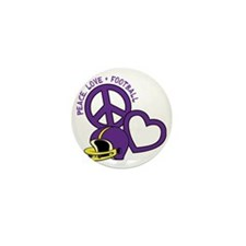 purplegold, Peace, Love, Football helm Mini Button