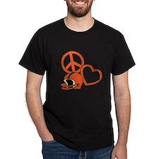 Orangeblack, Peace, Love, Football he T-Shirt