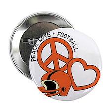 """Orangeblack, Peace, Love, Football he 2.25"""" Button"""