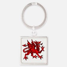 1024px-Welsh_dragon Square Keychain