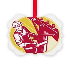 Lineworker Power Lineman Climbing Picture Ornament