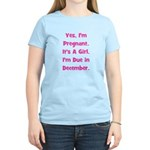 Pregnant w/ Girl due December Women's Light T-Shir
