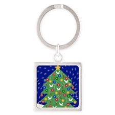 Christmas Let It Snow Magnet Square Keychain