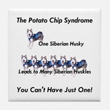 Siberian Husky Potato Chip  Tile Coaster