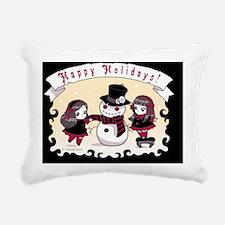 Gothic Chibi Snowman Rectangular Canvas Pillow