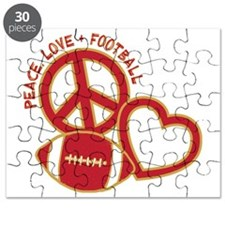 Niner red, Peace, Love, Football Puzzle