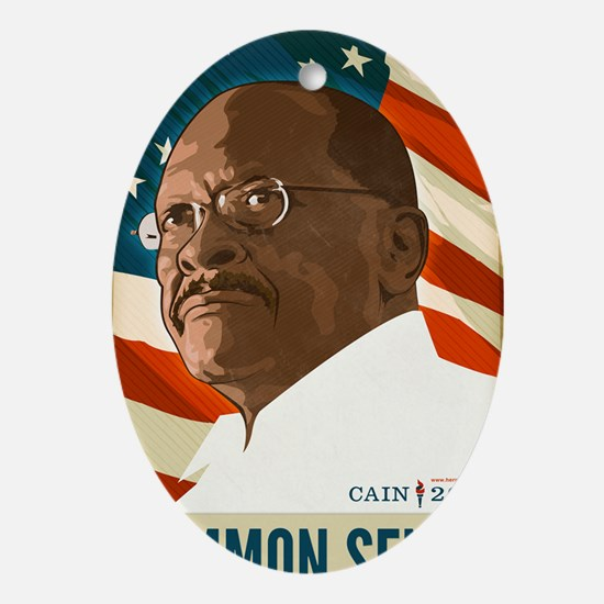 Herman Cain Common Sense 2012 Oval Ornament