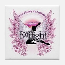 twilight pink angel with circle text  Tile Coaster