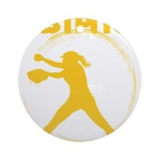 gold, fastpitch Round Ornament