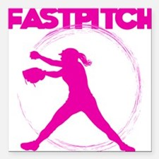 """pink, fastpitch Square Car Magnet 3"""" x 3"""""""