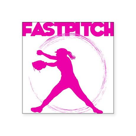 "pink, fastpitch Square Sticker 3"" x 3"""