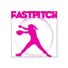 "pink, fastpitch Square Sticker 3"" x 3"""