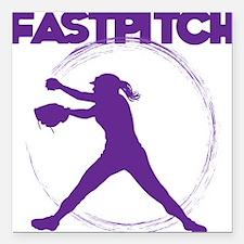 "purple, fastpitch Square Car Magnet 3"" x 3"""