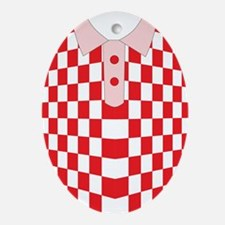 iShirt Checkers Red iPhone Skin Oval Ornament