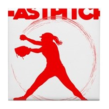 neon red, fastpitch Tile Coaster