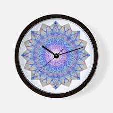 Purple Blue Yoga Mandala Shirt Wall Clock