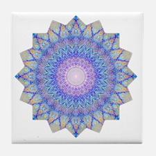 Purple Blue Yoga Mandala Shirt Tile Coaster