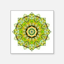"Green Yellow Heart Chakra Y Square Sticker 3"" x 3"""
