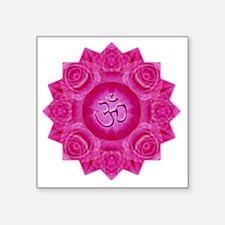 "Pink Om Rose Yoga Mandala S Square Sticker 3"" x 3"""