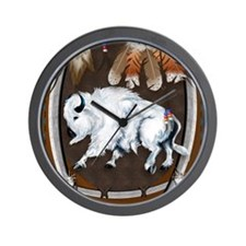 White Buffalo Shield -brownPosterP Wall Clock