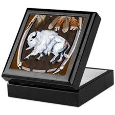 White Buffalo Shield -brownPosterP Keepsake Box