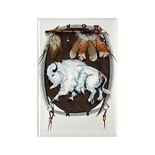 White Buffalo Shield Trans Rectangle Magnet