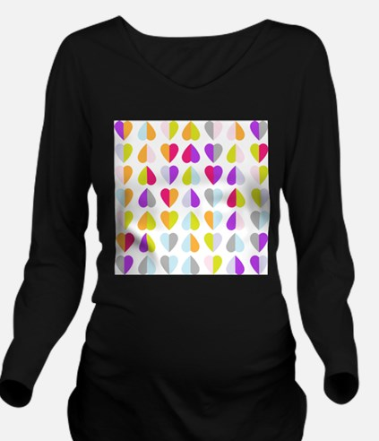 colorful hearts Long Sleeve Maternity T-Shirt