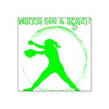 """Neon Green, Again Square Sticker 3"""" x 3"""""""