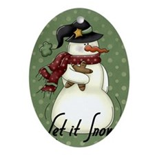 snowman1 Oval Ornament
