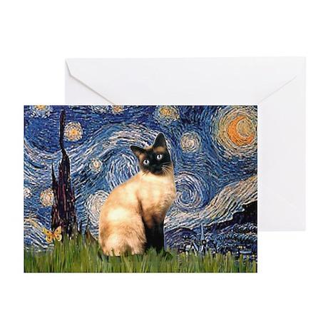 Starry Night Siamese Greeting Cards (Pk of 10)