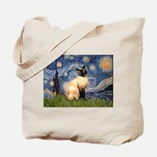 Starry Night Siamese Tote Bag