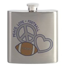 silver blue, Peace, Love, Football Flask