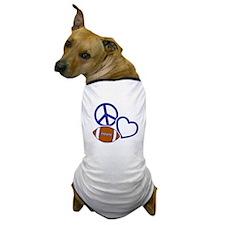 bluewhite Peace, Love, Football Dog T-Shirt