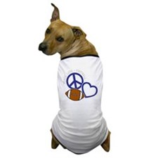 bluesilver Peace, Love, Football Dog T-Shirt