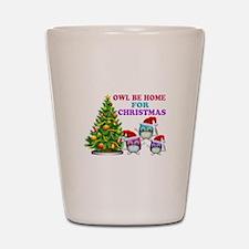 Owl Be Home For Christmas Shot Glass