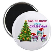 Owl Be Home For Christmas Magnet