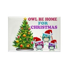 Owl Be Home For Christmas Rectangle Magnet