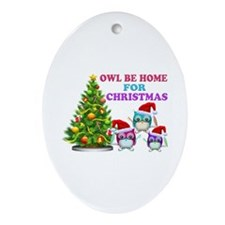 Owl Be Home For Christmas Ornament (Oval)