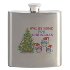 Owl Be Home For Christmas Flask