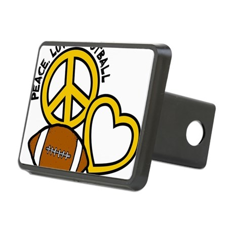 yellow black, Peace, Love, Rectangular Hitch Cover