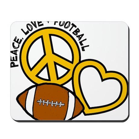 yellow black, Peace, Love, Football Mousepad