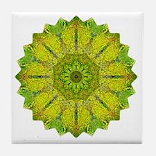 Gold Green Heart Chakra Mandala Yoga  Tile Coaster