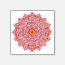 "Pink Flower Yoga Mandala Sh Square Sticker 3"" x 3"""