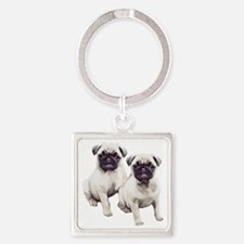 two pugs sitting Square Keychain