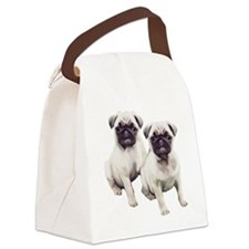 two pugs sitting Canvas Lunch Bag