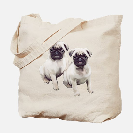 two pugs sitting Tote Bag