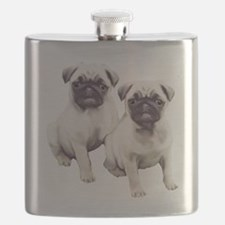 two pugs sitting Flask